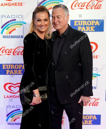German former swimmer Franziska van Almsick (L) and her husband Juergen B. Harder (R) attend the Radio Regenbogen Award ceremony in Rust near Freiburg, Germany, 12 April 2019. The Radio Regenbogen Award is one of the most important media awards of the German radio scene.