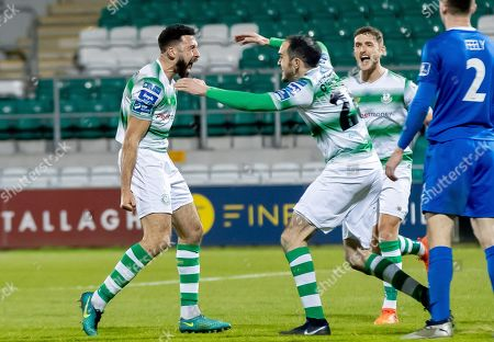 Shamrock Rovers vs Waterford. Shamrock Rovers Roberto Lopes celebrates scoring a goal with Joey O'Brien