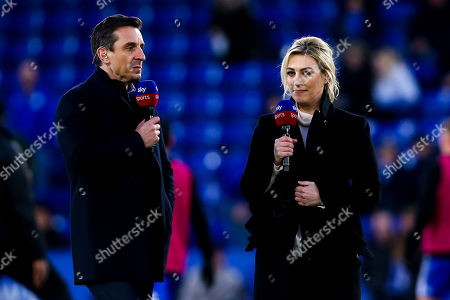 Stock Photo of Sky Sports Presenter Kelly Cates has an animated conversation with pundit and former Manchester United and England defender Gary Neville