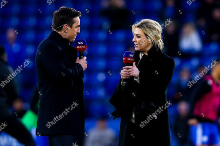 Stock Image of Sky Sports Presenter Kelly Cates has an animated conversation with pundit and former Manchester United and England defender Gary Neville