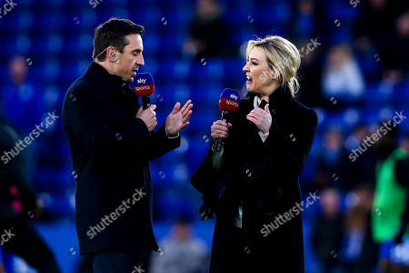 Sky Sports Presenter Kelly Cates has an animated conversation with pundit and former Manchester United and England defender Gary Neville