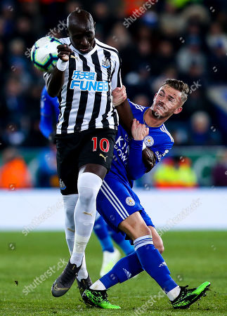 Stock Picture of Mohamed Diame of Newcastle United challenges James Maddison of Leicester City