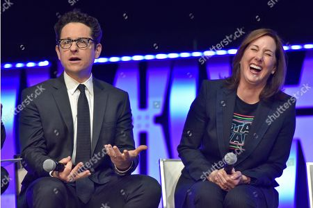 """J.J. Abrams, Kathleen Kennedy. J.J. Abrams, left, and Kathleen Kennedy participate during the """"Star Wars: The Rise Of Skywalker"""" panel on day 1 of the Star Wars Celebration at Wintrust Arena, in Chicago"""