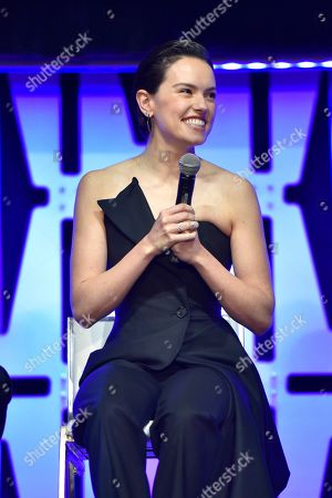 """Daisy Ridley participates in the """"Star Wars: The Rise of Skywalker"""" panel on day 1 of the Star Wars Celebration at Wintrust Arena, in Chicago"""