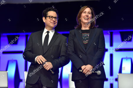 """Stock Picture of J.J. Abrams, Kathleen Kennedy. J.J. Abrams, left, and Kathleen Kennedy participates in the """"Star Wars: The Rise of Skywalker"""" panel on day 1 of the Star Wars Celebration at Wintrust Arena, in Chicago"""