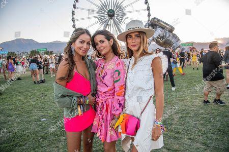 Julie Sarinana, Sara Escudero, Belen Hostalet. Julie Sarinana, from left, Sara Escudero, and Belen Hostalet of Barcelona, Spain attend the Coachella Music & Arts Festival at the Empire Polo Club, in Indio, Calif