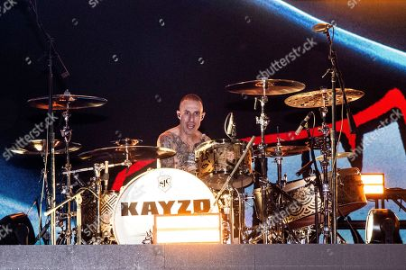 KAYZO, Frank Zummo. Frank Zummo of Sum 41 performs with KAYZO at the Coachella Music & Arts Festival at the Empire Polo Club, in Indio, Calif