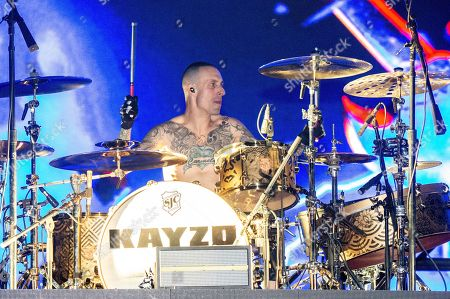Stock Image of KAYZO, Frank Zummo. Frank Zummo of Sum 41 performs with KAYZO at the Coachella Music & Arts Festival at the Empire Polo Club, in Indio, Calif