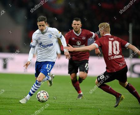 12.04.2019, Football 1. Bundesliga 2018/2019, 29.  match day, 1.FC Nuernberg - FC Schalke 04, Max-Morlock-stadium in Nuernberg. li: Sebastian Rudy (FC Schalke 04) .