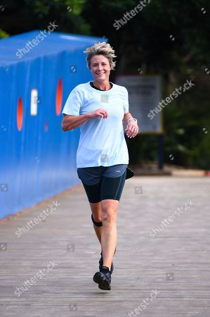 Labor Senator Kristina Keneally approaches the finish line of the Mt Penang Gardens Parkrun in Gosford, Australia, 13 April 2019. Australia will hold its federal election on 18 May.