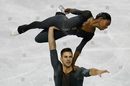 France's Vanessa James and Morgan Cipres perform their pairs free program routine during the ISU World Team Trophy Figure Skating competition in Fukuoka, southwestern Japan
