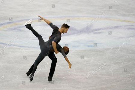 Stock Picture of France's Vanessa James and Morgan Cipres perform their pairs free program routine during the ISU World Team Trophy Figure Skating competition in Fukuoka, southwestern Japan