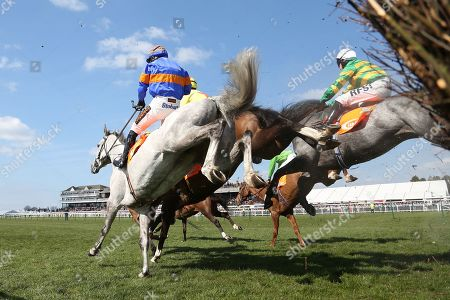 Stock Photo of The runners stream over the first fence in The Class 2 J & D Pierce Novices Champion Handicap Steeplechase over 3m (£100,000)  during the Scottish Grand National race day at Ayr Racecourse, Ayr