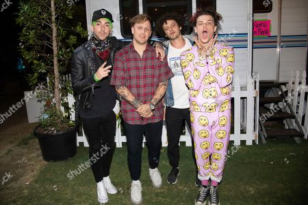 Stock Image of Alex Gaskarth, KAYZO, Grandson, Yungblud. Alex Gaskarth, from left, KAYZO, Grandson, and Yungblud pose at the Coachella Music & Arts Festival at the Empire Polo Club, in Indio, Calif