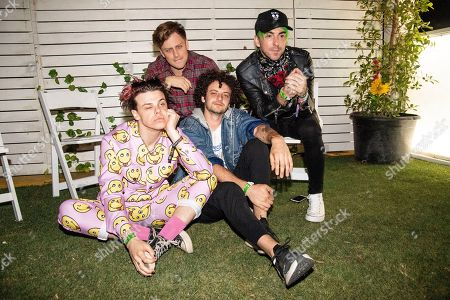 Stock Photo of Yungblud, KAYZO, Grandson, Alex Gaskarth. Yungblud, left, KAYZO, Grandson, and Alex Gaskarth pose at the Coachella Music & Arts Festival at the Empire Polo Club, in Indio, Calif