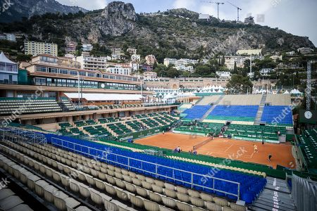 The Court Rainier III of the Monte Carlo Country Club during the Monte Carlo Rolex Master 2019 Tennis competition, counting for the ATP Master 1000 tournament, at the Monte Carlo Bay Hotel, in Monaco