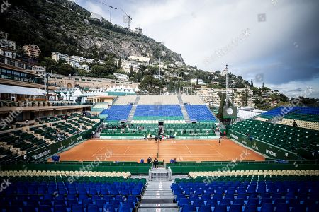 Stock Picture of The Court Rainier III of the Monte Carlo Country Club during the Monte Carlo Rolex Master 2019 Tennis competition, counting for the ATP Master 1000 tournament, at the Monte Carlo Bay Hotel, in Monaco