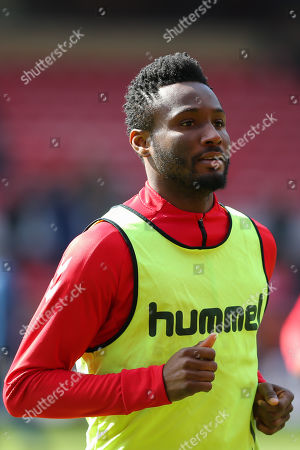 Middlesbrough midfielder John Obi Mikel (2) in the warm up ahead of the EFL Sky Bet Championship match between Middlesbrough and Hull City at the Riverside Stadium, Middlesbrough