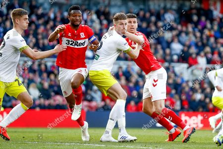 Middlesbrough midfielder Mikel John Obi (2) and Middlesbrough defender Daniel Ayala (4)  during the EFL Sky Bet Championship match between Middlesbrough and Hull City at the Riverside Stadium, Middlesbrough