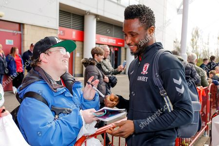 Middlesbrough midfielder Mikel John Obi (2) signing during the EFL Sky Bet Championship match between Middlesbrough and Hull City at the Riverside Stadium, Middlesbrough