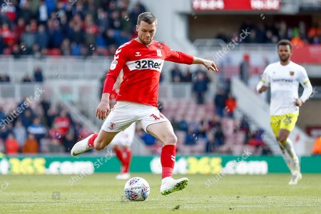 Middlesbrough midfielder Jonathan Howson (16) with a shot during the EFL Sky Bet Championship match between Middlesbrough and Hull City at the Riverside Stadium, Middlesbrough