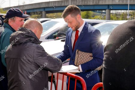 Middlesbrough midfielder Jonathan Howson (16) signing autographs during the EFL Sky Bet Championship match between Middlesbrough and Hull City at the Riverside Stadium, Middlesbrough