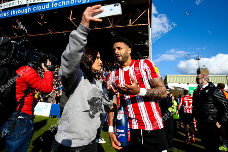 Bruno Andrade of Lincoln City is interviewed by Layla Anna-Lee from Sky Bet