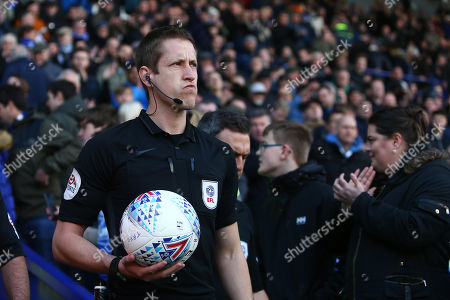 Stock Picture of EFL referee John Brooks leads out the sides