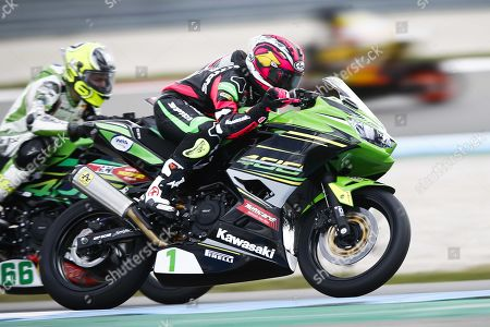 Motorcyclist Ana Carrasco of Spain on her Kawasaki in the Supersport 300 class during the World Superbike Championship races at the TT Circuit Assen, Netherlands, 13 April 2019.