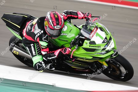 Stock Image of Motorcyclist Ana Carrasco of Spain on her Kawasaki in the Supersport 300 class during the World Superbike Championship races at the TT Circuit Assen, Netherlands, 13 April 2019.