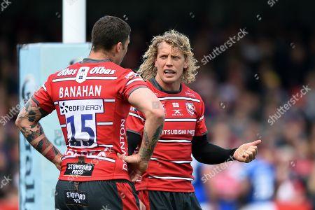 Billy Twelvetrees of Gloucester Rugby speaks to team-mate Matt Banahan