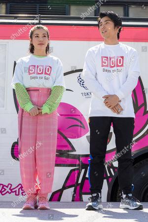 Japanese actress Riisa Naka and actor Akiyoshi Nakao attend a talk show