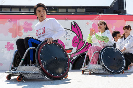 Japanese actor Akiyoshi Nakao and actress Riisa Naka attend a talk show