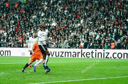 Atiba Hutchinson of Besiktas chesting the ball back to Loris Karius of Besiktas during Besiktas J.K v Ä°stanbul Basaksehir, Turkish Super Lig, in Vodafone Park , Istanbul, Turkey