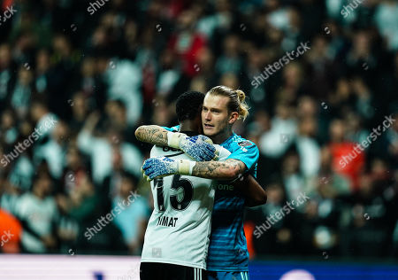 Loris Karius of Besiktas and Nicolas Isimat-Mirin of Besiktas celebrating the win during Besiktas J.K v Ä°stanbul Basaksehir, Turkish Super Lig, in Vodafone Park , Istanbul, Turkey