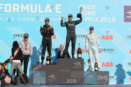 The podium with André Lotterer (DS Techeetah) , Mitch Evans (Panasonic Jaguar Racing) and Stoffel Vandoorne (HWA Racelab)