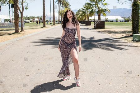 Sabrina Claudio poses at the Coachella Music & Arts Festival at the Empire Polo Club, in Indio, Calif