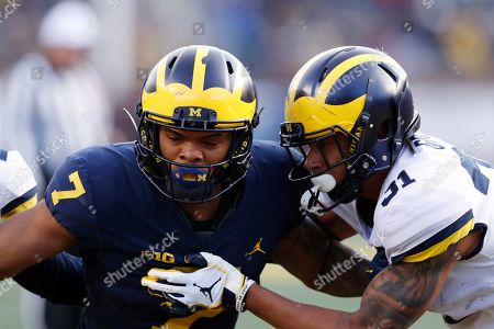 Michigan wide receiver Tarik Black (7) during Michigan's annual spring NCAA college football game, in Ann Arbor, Mich