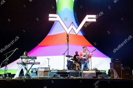 Brian Bell, Rivers Cuomo, Patrick Wilson, Scott Shriner. Brian Bell, from left, Rivers Cuomo, Patrick Wilson, and Scott Shriner of Weezer performs at the Coachella Music & Arts Festival at the Empire Polo Club, in Indio, Calif