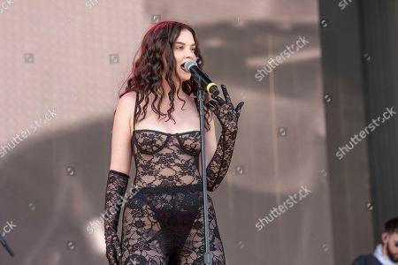 Sabrina Claudio performs at the Coachella Music & Arts Festival at the Empire Polo Club, in Indio, Calif