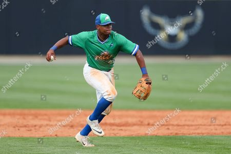Stock Image of Jay Hayes (30) prepares to throw during a Florida Gulf Coast at Kennesaw State baseball game, in Kennesaw, Ga