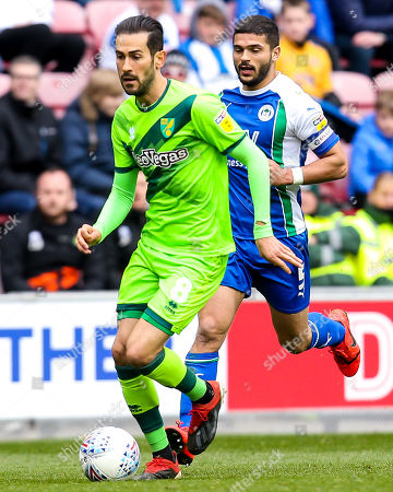 Mario Vrancic of Norwich City goes past Sam Morsy of Wigan Athletic