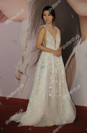 Hong Kong actress Fiona Sit poses on the red carpet of the Hong Kong Film Awards in Hong Kong