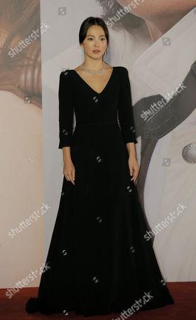 South Korean actress Song Hye-kyo poses on the red carpet of the Hong Kong Film Awards in Hong Kong