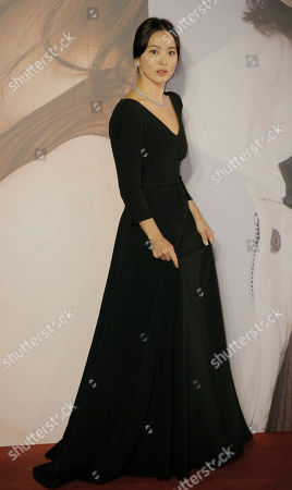 Stock Photo of South Korean actress Song Hye-kyo poses on the red carpet of the Hong Kong Film Awards in Hong Kong