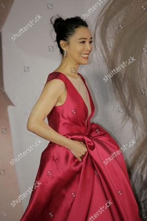 Chinese actress Zhang Jingchu poses on the red carpet of the Hong Kong Film Awards in Hong Kong