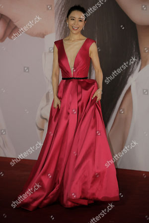 Stock Picture of Chinese actress Zhang Jingchu poses on the red carpet of the Hong Kong Film Awards in Hong Kong