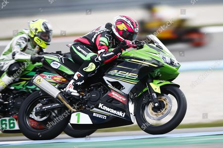 Stock Picture of Spanish rider Ana Carrasco on her Kawasaki in the Supersport 300 class during the World Superbike Championship races at the TT Circuit Assen in Assen, The Netherlands, 14 April 2019.