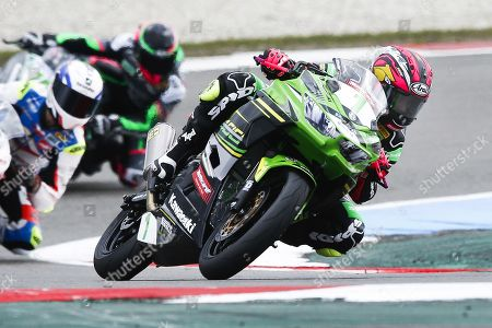 Spanish rider Ana Carrasco on her Kawasaki in the Supersport 300 class during the World Superbike Championship races at the TT Circuit Assen in Assen, The Netherlands, 14 April 2019.