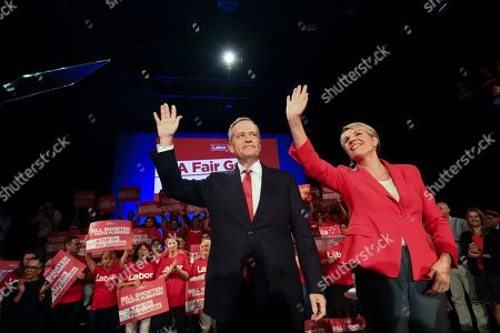 Stock Image of Australian Opposition Leader Bill Shorten (L) and Deputy Leader of the Labor Party Tanya Plibersek wave after speaking at a Labor volunteers rally at the Southern Cross Vocational College in Burwood in Sydney, New South Wales, Australia, 14 April 2019. The Australian federal election will be held on 18 May 2019.